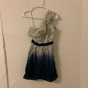 Gianni Bini Floral Cream & Blue Dress Size X Small